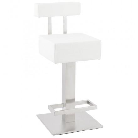 Tabouret design carré rotatif mi-hauteur ESCAULT MINI (blanc)