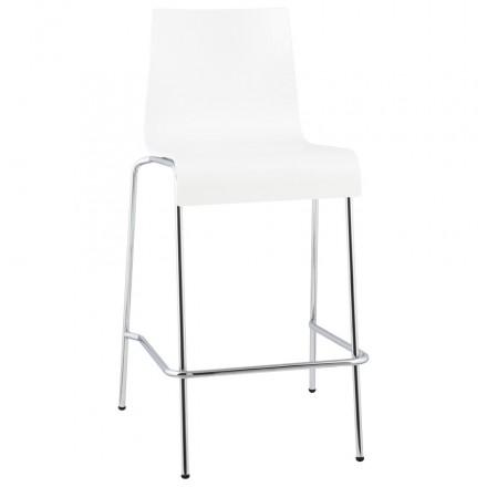 Tabouret design carré mi-hauteur SAMBRE en bois et métal chromé (blanc)