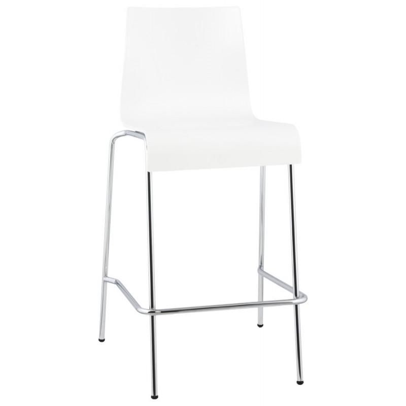 Tabouret design carré mi-hauteur SAMBRE en bois et métal chromé (blanc) - image 16069