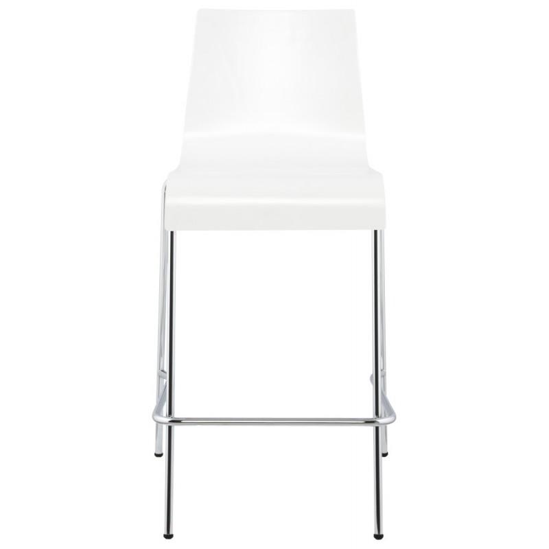 Tabouret design carré mi-hauteur SAMBRE en bois et métal chromé (blanc) - image 16070