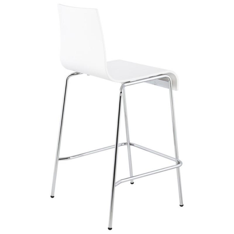 tabouret design carr mi hauteur sambre en bois et m tal chrom blanc. Black Bedroom Furniture Sets. Home Design Ideas