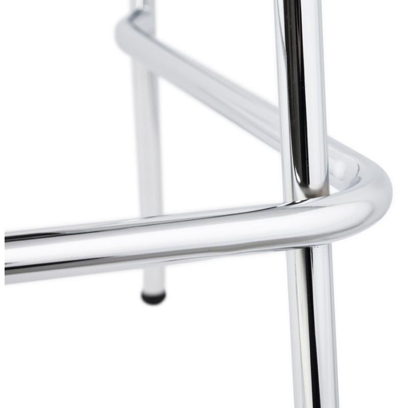 Tabouret design carré mi-hauteur SAMBRE en bois et métal chromé (blanc) - image 16075