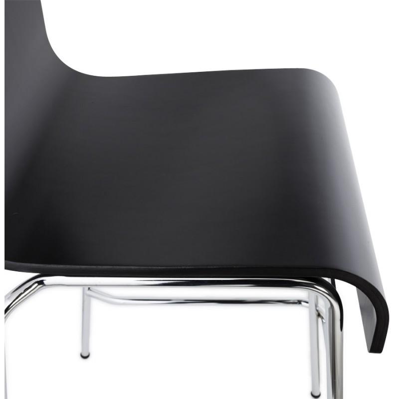 Tabouret design carré mi-hauteur SAMBRE en bois et métal chromé (noir) - image 16084