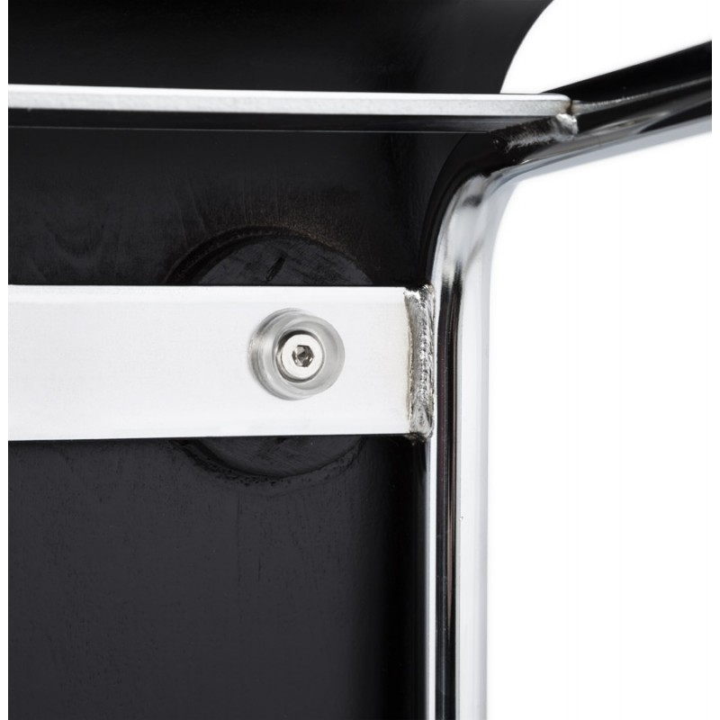 Tabouret design carré mi-hauteur SAMBRE en bois et métal chromé (noir) - image 16087
