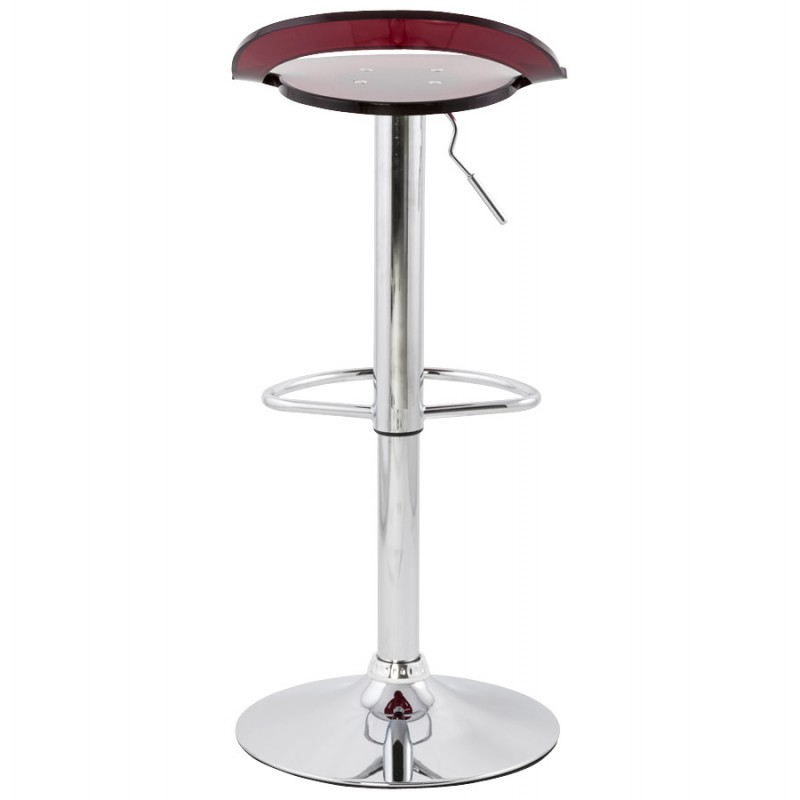 MOSELLE stool round design in ABS (high-strength polymer) and chrome metal (red) - image 16134