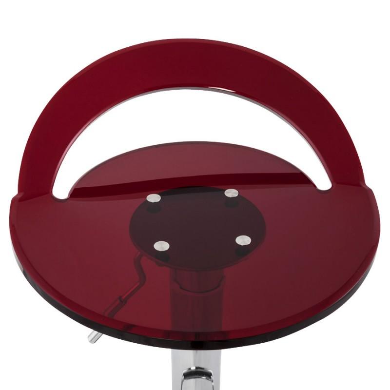 Tabouret MOSELLE rond design en ABS (polymère à haute résistance) et métal chromé (rouge) - image 16136