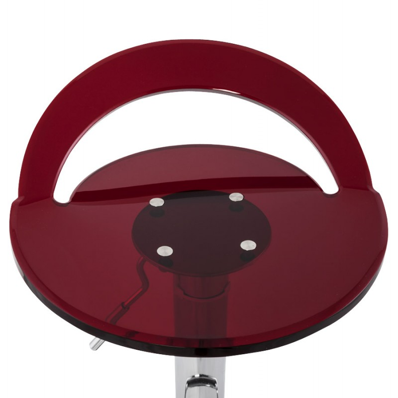 MOSELLE stool round design in ABS (high-strength polymer) and chrome metal (red) - image 16136