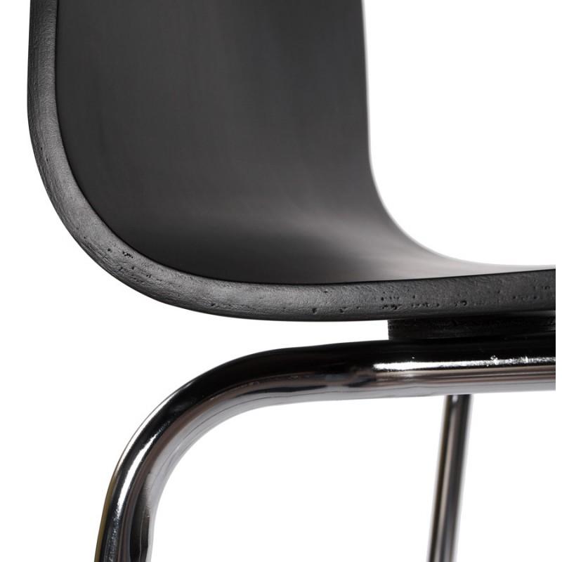 Sgabello metallo SAONE e legno cromata (nero) - image 16155