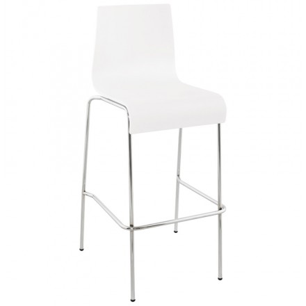 SAONE wood and chromium-plated metal stool  (white)