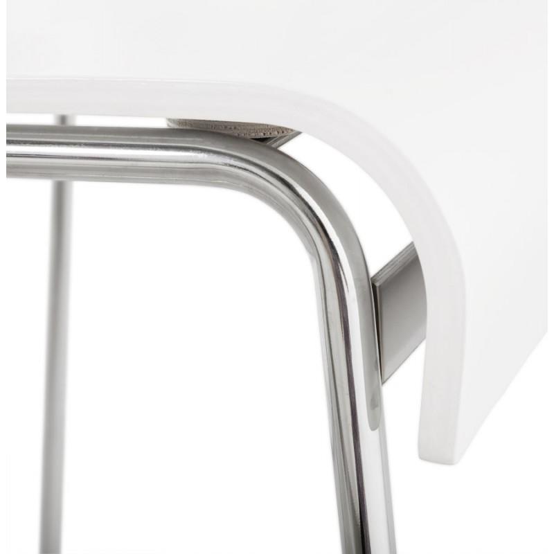 Tabouret de bar SAONE en bois et métal chromé (blanc) - image 16174