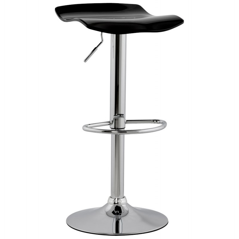 LYS Stool round design in ABS (high-strength polymer) and chrome metal (black) - image 16190