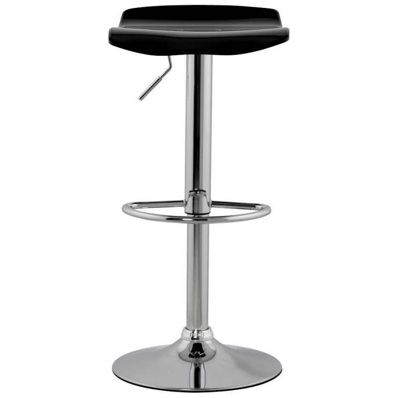 LYS Stool round design in ABS (high-strength polymer) and chrome metal (black) - image 16192