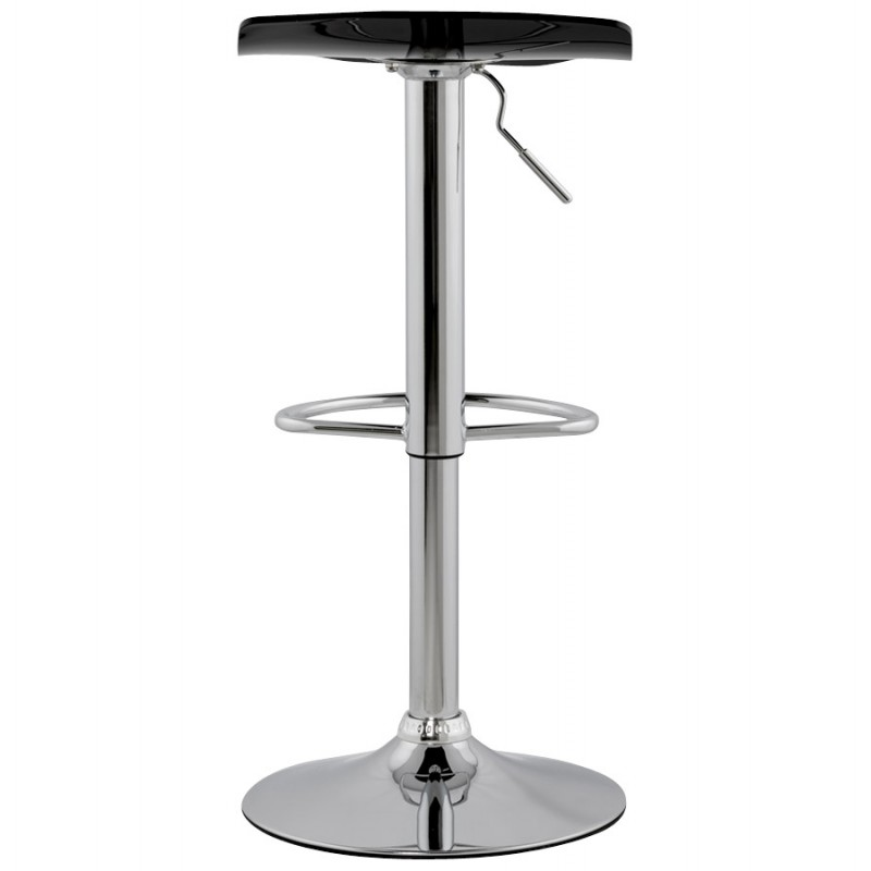 LYS Stool round design in ABS (high-strength polymer) and chrome metal (black) - image 16195