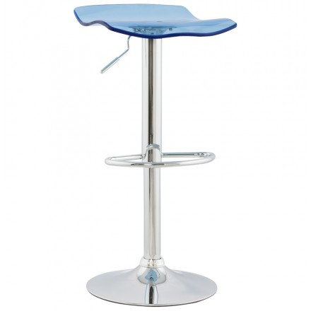 LYS Stool round design in ABS (high-strength polymer) and chrome metal (blue)