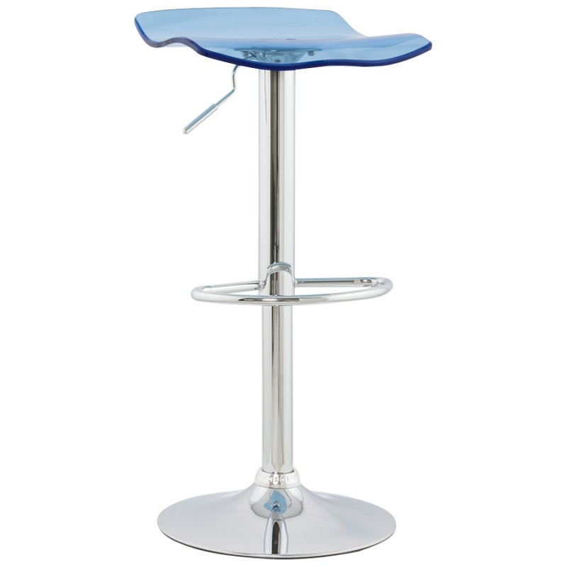 LYS Stool round design in ABS (high-strength polymer) and chrome metal (blue) - image 16203