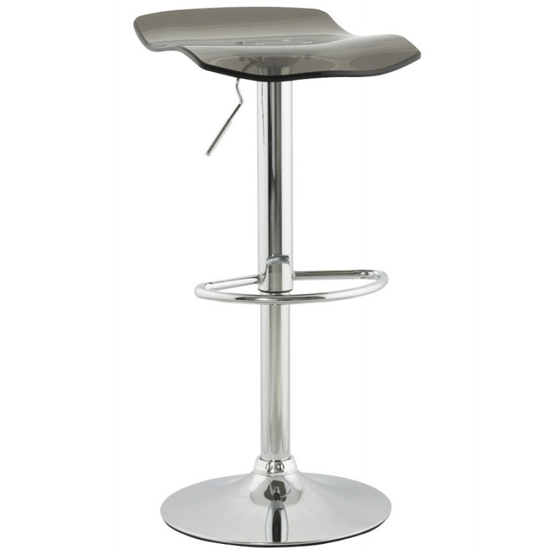 LYS Stool round design in ABS (high-strength polymer) and chrome metal (smoked) - image 16219