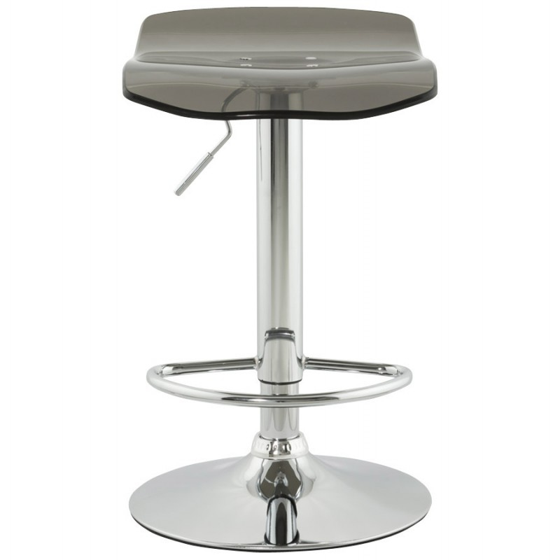 LYS Stool round design in ABS (high-strength polymer) and chrome metal (smoked) - image 16221