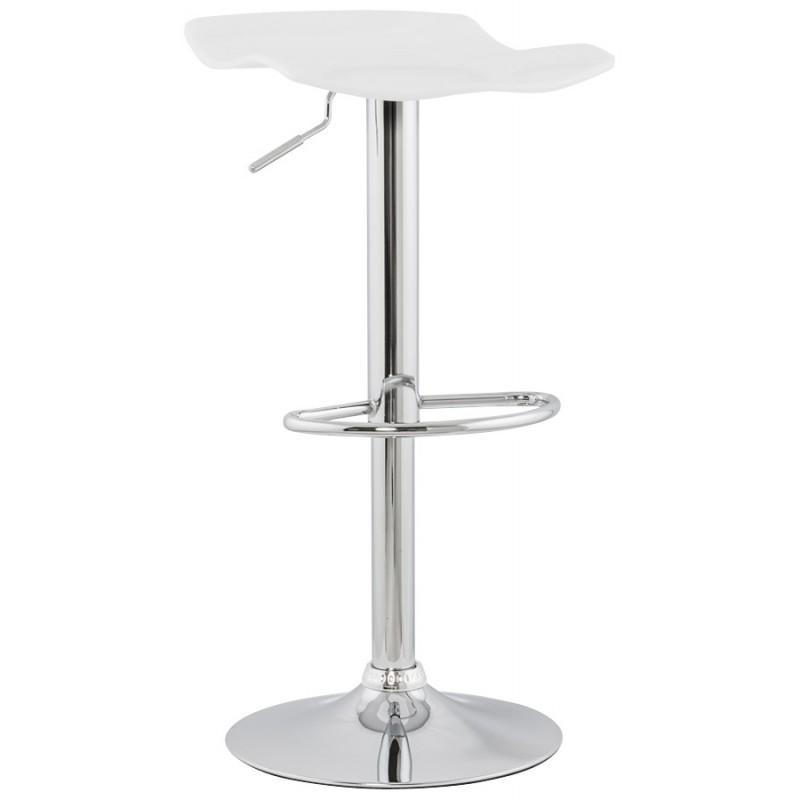 Tabouret LYS rond design en ABS (polymère à haute résistance) et métal chromé (blanc) - image 16230