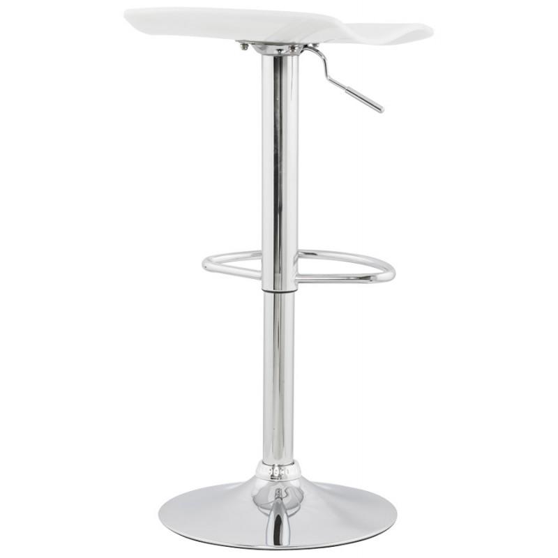 Tabouret LYS rond design en ABS (polymère à haute résistance) et métal chromé (blanc) - image 16234