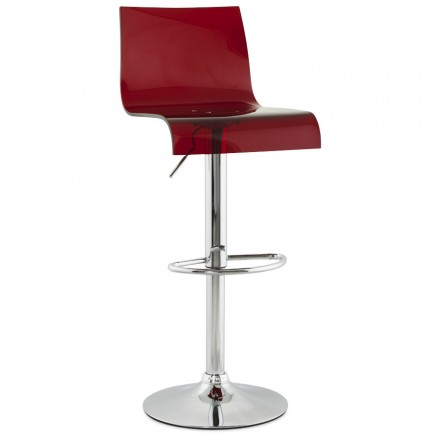 SARTHE Stool in ABS (high-strength polymer) and chrome metal (red)