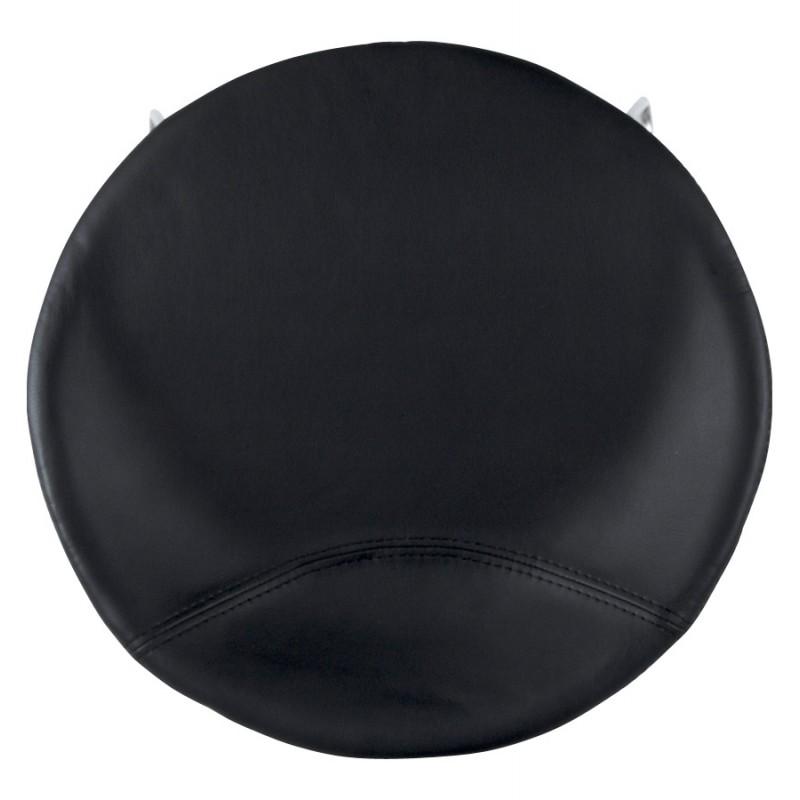 Tabouret design DOUBS en simili cuir et acier brossé inoxydable (noir) - image 16332