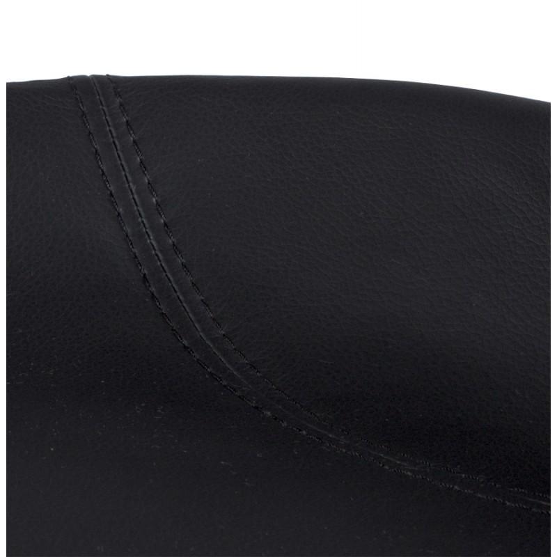 Tabouret design DOUBS en simili cuir et acier brossé inoxydable (noir) - image 16334