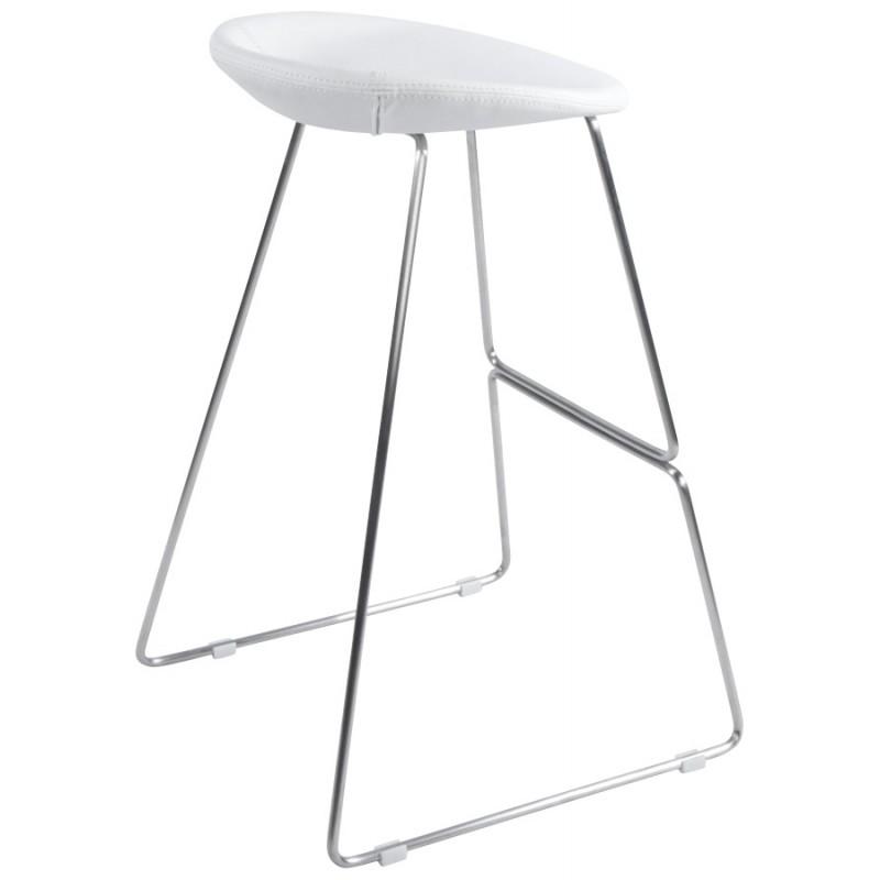 Tabouret design DOUBS en simili cuir et acier brossé inoxydable (blanc) - image 16349