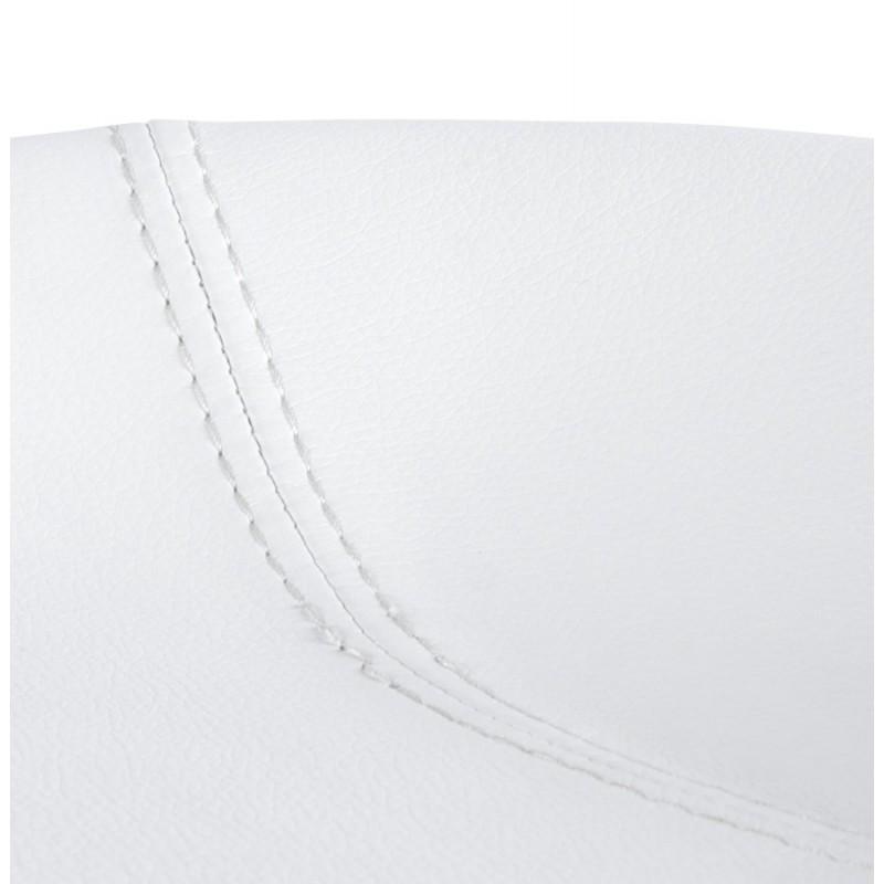 Tabouret design DOUBS en simili cuir et acier brossé inoxydable (blanc) - image 16352