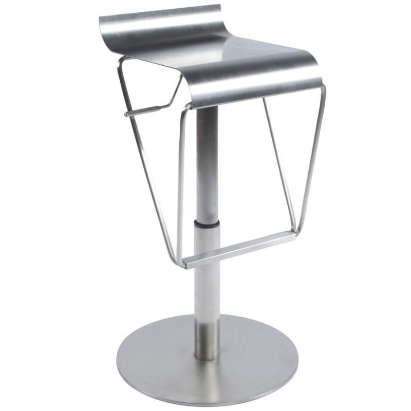 Tabouret design carré MAINE en acier brossé (acier)