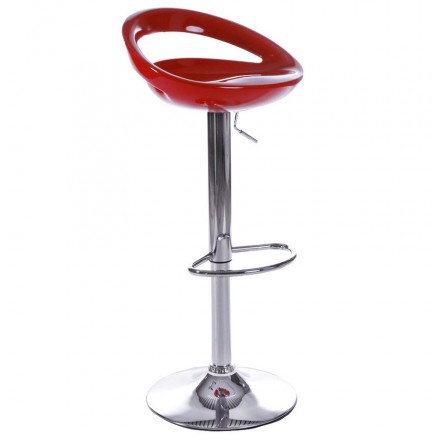 ALLIER Stool round in ABS (high-strength polymer) and chrome metal (red)