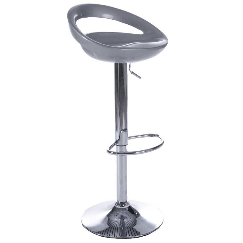 ALLIER Stool round in ABS (high-strength polymer) and chrome metal (Silver) - image 16600