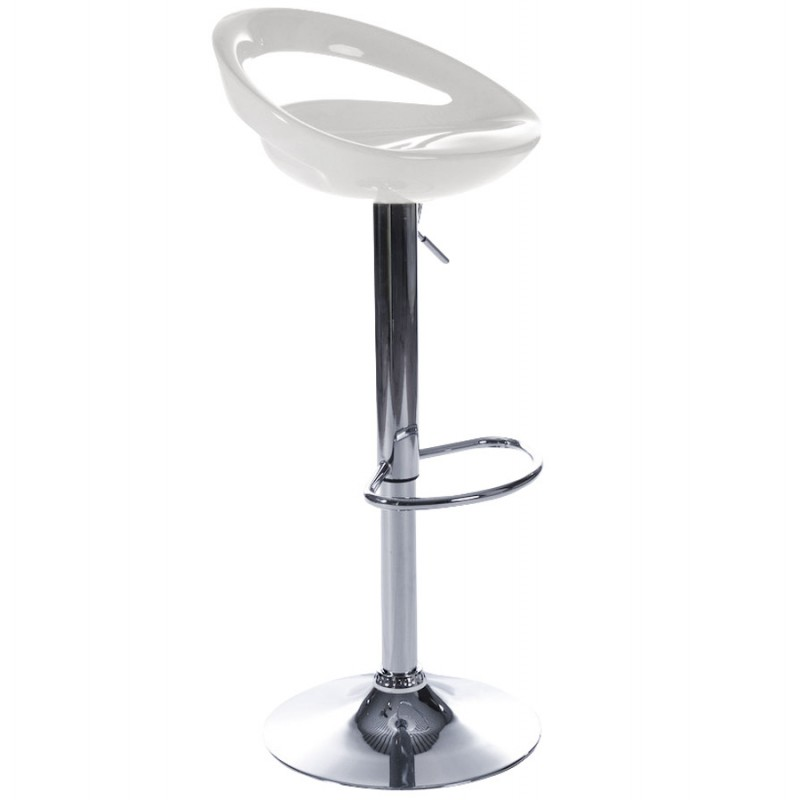 ALLIER Stool round in ABS (high-strength polymer) and chrome metal (white) - image 16609