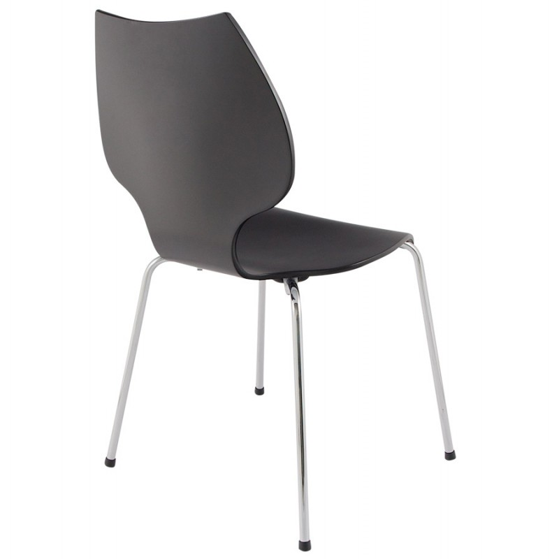 Chaise design AGOUT peinte en bois ou dérivé et métal chromé (noir) - image 16665