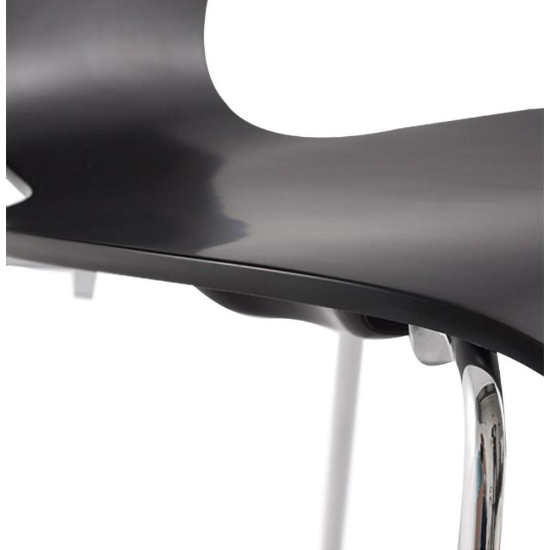Chaise design AGOUT peinte en bois ou dérivé et métal chromé (noir) - image 16666