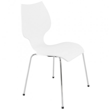 AGOUT Design chair painted wood or derived and chrome metal (white)