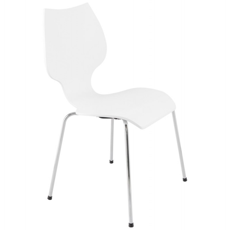 AGOUT Design chair painted wood or derived and chrome metal (white) - image 16671