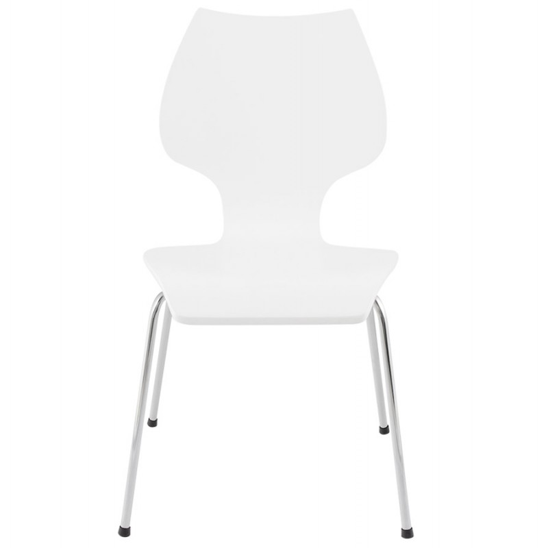 AGOUT Design chair painted wood or derived and chrome metal (white) - image 16672