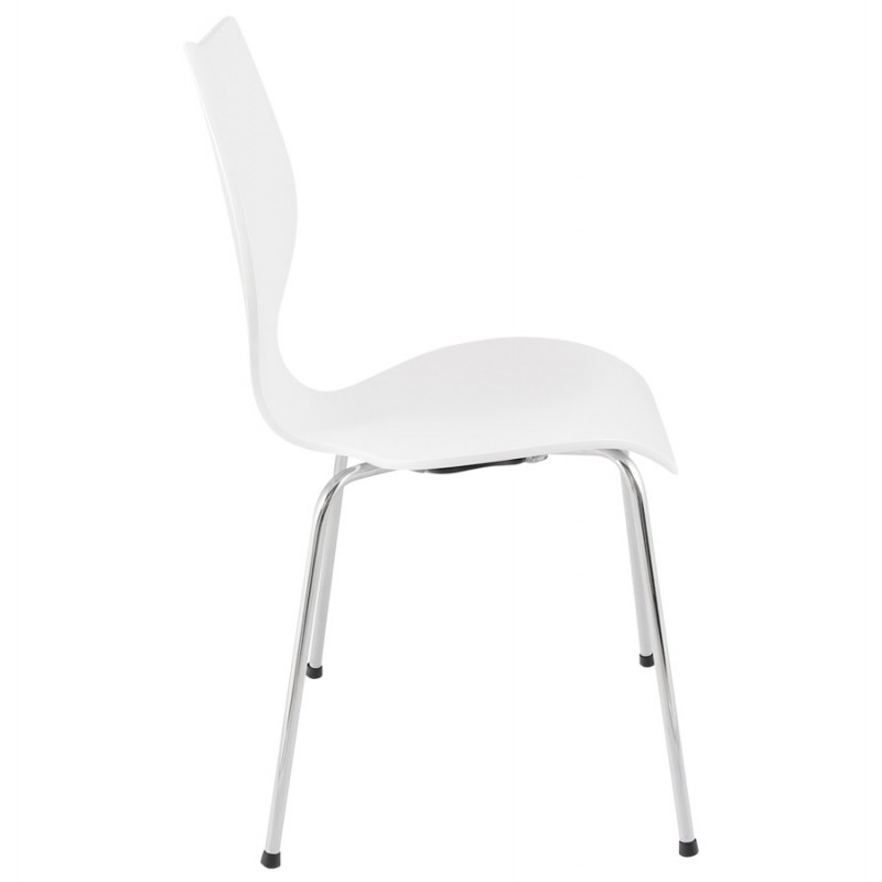 AGOUT Design chair painted wood or derived and chrome metal (white) - image 16673