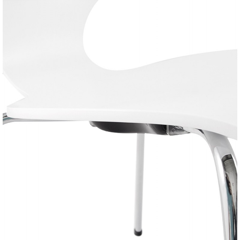 AGOUT Design chair painted wood or derived and chrome metal (white) - image 16675