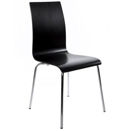 Chaise polyvalente OUST en bois ou dérivé et métal chromé (noir)