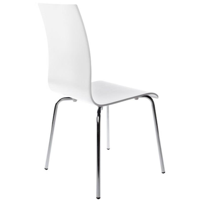 chaise polyvalente oust en bois ou d riv et m tal chrom blanc. Black Bedroom Furniture Sets. Home Design Ideas