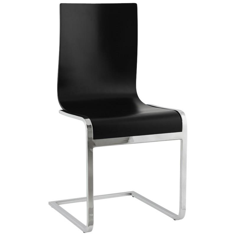 Chaise moderne DURANCE en bois et métal chromé (noir)
