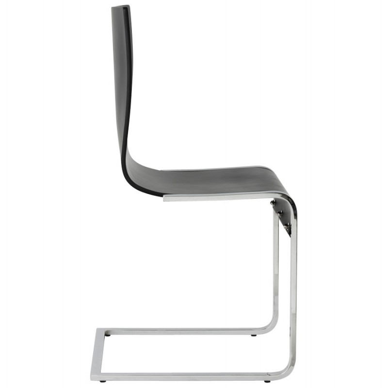 DURANCE Modern Chair wood and chrome metal (black) - image 16701