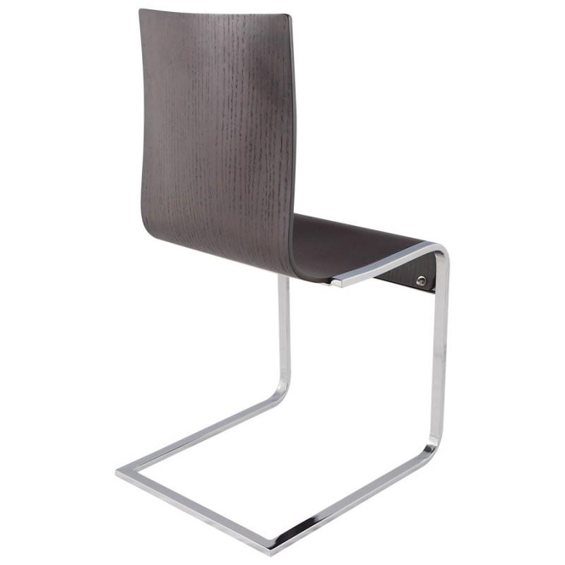 Moderner Stuhl DURANCE Holz und Chrom Metall Wenge