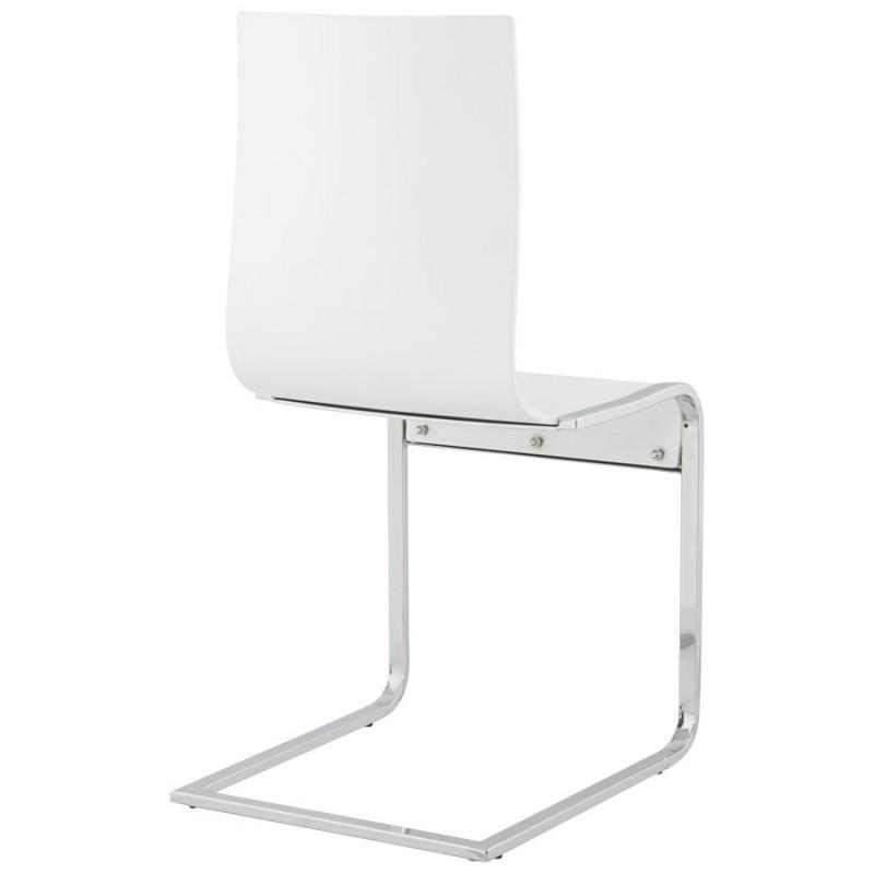 Chaise En Bois Moderne - Chaise moderne DURANCE en bois et métal chromé (blanc)