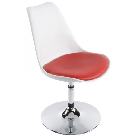Chaise design AISNE rotative et réglable (blanc et rouge)