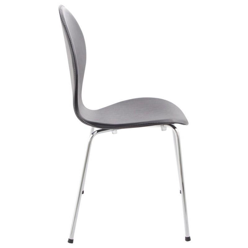 chaise contemporaine arroux empilable noir. Black Bedroom Furniture Sets. Home Design Ideas