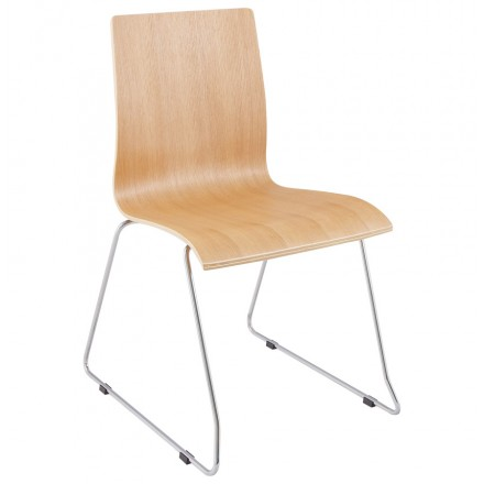 BLAISE contemporary chair in wood and chrome metal (natural wood)