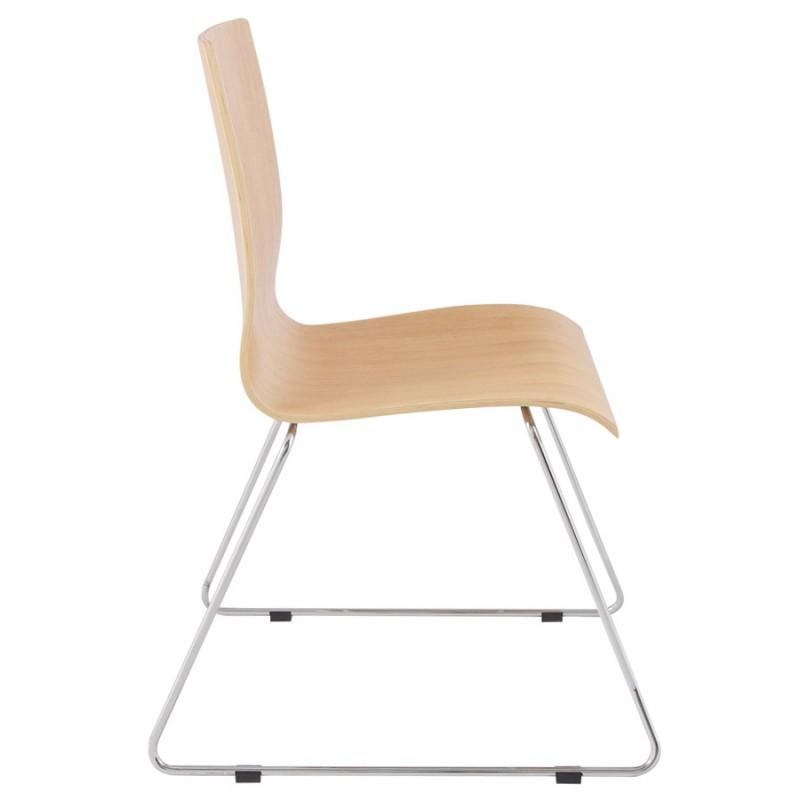 Chaise contemporaine BLAISE en bois et métal chromé (bois naturel) - image 16822
