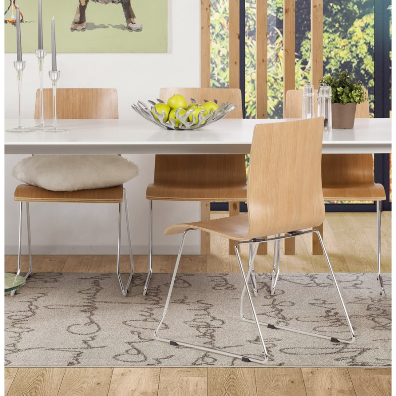 Sedia contemporaneo BLAISE in legno e metallo cromato (legno naturale) - image 16828